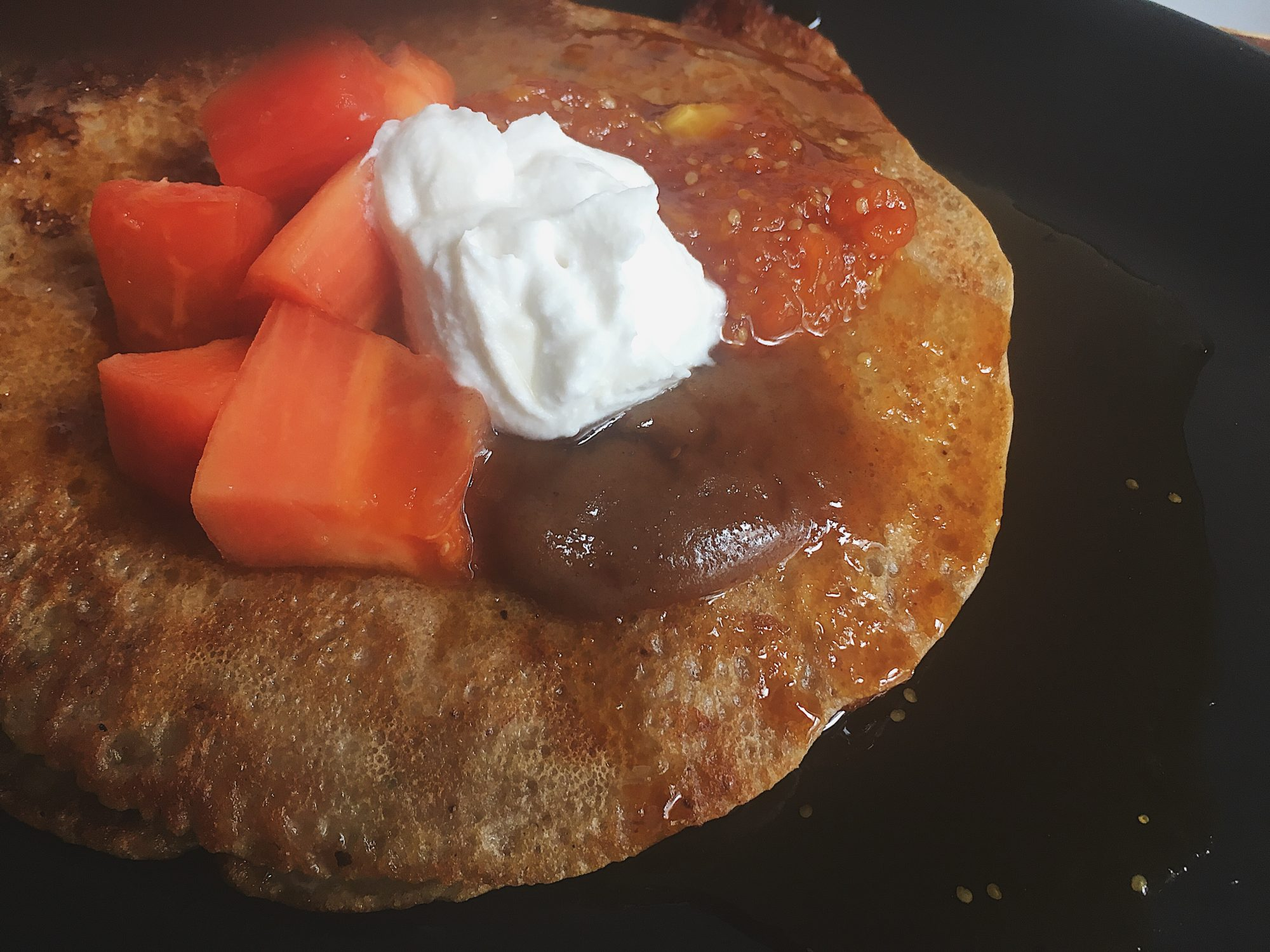 Papaya Pancakes w/ Caramel + Coconut Cream